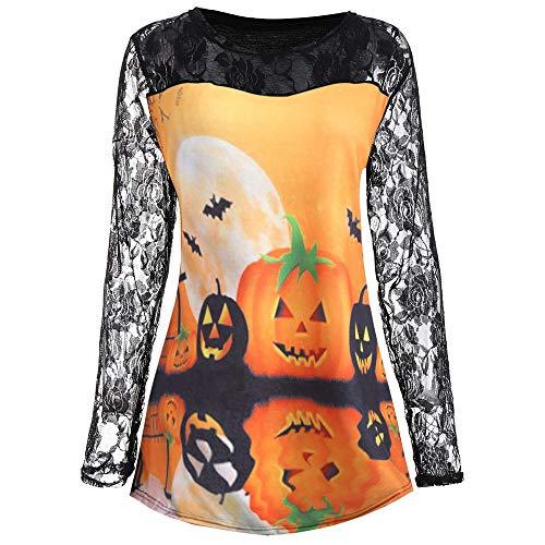 SEWORLD Halloween Frauen Kürbis Gesicht Print Langarm Shirt Spitzenbluse Tops T-Shirt(C-schwarz,EU-36/CN-M)