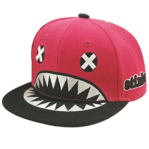 Belsen Kind Hip-Hop Hai Cap Baseball Kappe Hut (Rose Red)