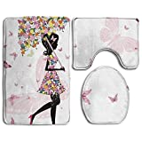 fengxutongxue Bathroom Rug Girly Girl with Floral Umbrella and Dress Walking with Butterflies Inspirational Artsy 3 Piece Bath Mat Set Contour Rug and Lid Cover