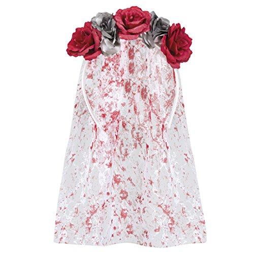 Halloweenia - Halloween Kostüm Horror Braut Blutiger Schleier mit Blumen Erwachsenen Kopfbedeckung, Mehrfarbig (Sarg Braut Halloween Kostüme)