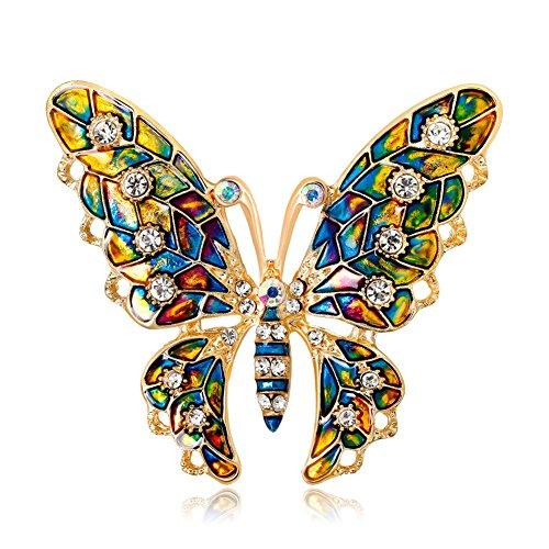 Hacoly Schmetterling Anstecknadel Broschen Pin Damen Kreativ Brosche mit Strass Schmuck Legierung...