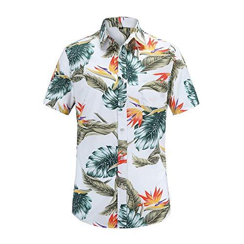YURACEER Herren Sommer Short-Sleeve 2019 Neue Sommer Herren Kurzarm Strand Hawaiian Shirts Baumwolle Casual Shirts Floral Regelmäßige Herren Shirt Mode x1 L -
