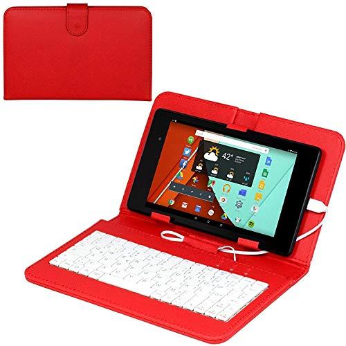 Navitech Rot bycast Leder Stand mit deutschem QWERTZ Keyboard mit Micro USB kompatibel mit Alcatel PIXI 4 (7) Alcatel ONETOUCH Pop 7S | Alcatel ONETOUCH Pixi Android 7
