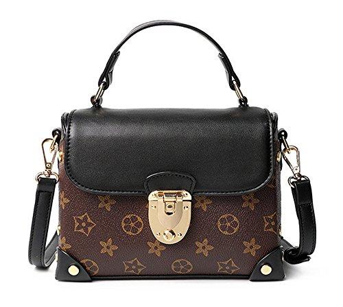 Xinmaoyuan borse Donna Primavera ed Estate Stampa Borsa confezione piccola borsa a tracolla trasversale femmina sacco bag Pu trasversale di blocco quadrato piccolo sacchetto Brown