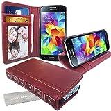 Stylebitz / Étui vintage, classique, rétro, en cuir PU avec pied de support pour Samsung Galaxy S5 Mini avec chiffon de nettoyage Stylebitz (rouge bourgogne)