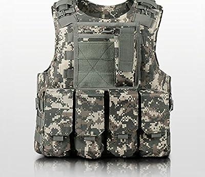 anzer caza táctico militar Airsoft Molle y # xFEFF; táctico asalto placa portadora chaleco con 4extraíble bolsas, al aire libre campo supervivencia equipo de aventura