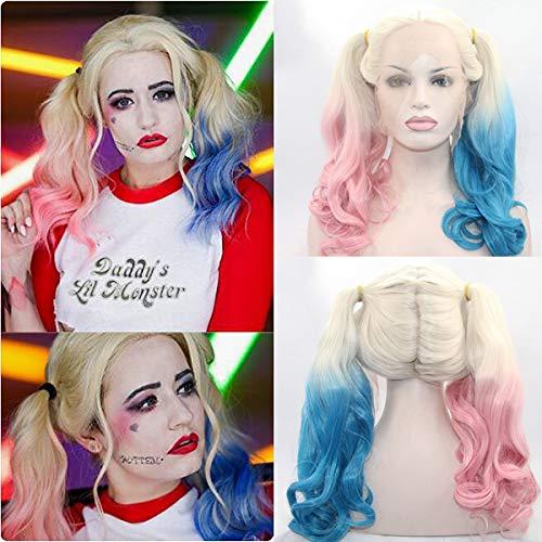 Party Queen Kunsthaar-Perücke Harley Quinn, hitzebeständig, natürlich aussehende blaue Perücken und rosa Perücken, für Partys, klebefreie Perücken mit Babyhaar Hollywood-Perücken