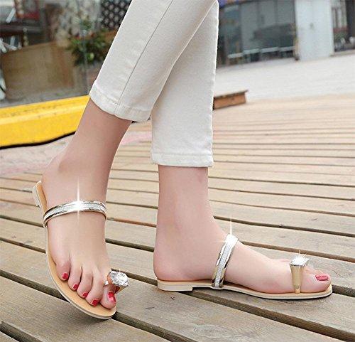 SUMMER großer Zehefrausandelholze Flip Diamanten flach mit flachen Sandalen und Pantoffeln weiblicher Diamanten Gold