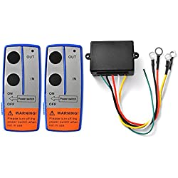 XCSOURCE® Cabrestante eléctrico sin hilos resistente 24V +2 Mando a distancia del microteléfono Para Coche JEEP ATV SUV BI568