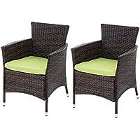 Lot de 2 chaises de jardin polyrotin ROM Basic, fauteuil en osier ~ marron avec coussins vert