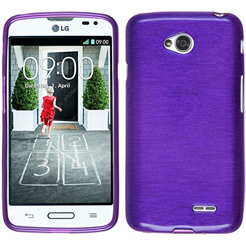 PhoneNatic Funda de silicona para LG L70 - brushed púrpura - Cover Cubierta + protector de pantalla