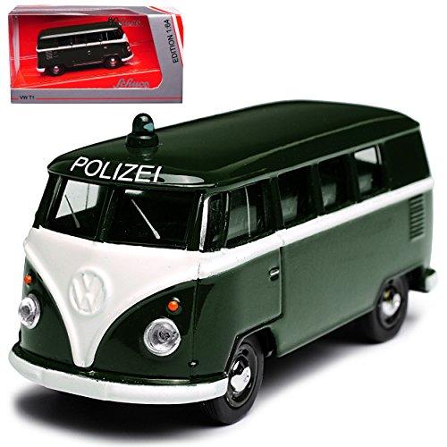 alles-meine GmbH VW Volkswagen T1 Polizei Grün Samba Bully Bus Transporter 1950-1967 1/64 Schuco Modell Auto