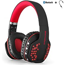 Bluetooth wireless Headset, Yocuby pieghevole Noise Cancelling Gaming cuffie con microfono e luci LED per PC tablet iPhone iPad Samsung smartphone laptop [Xbox Ones PS4 ha bisogno del cavo audio] (nero e rosso)