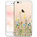 OOH!COLOR Collection 2019 Handyhülle kompatibel mit iPhone 6 Plus iPhone 6s Plus Hülle transparent dünn durchsichtig Slim Silikon Case mit Motiv Blumenwiese (EINWEG)