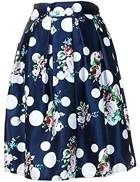 Moollyfox Impresa Moda De Alta Elástico De La Cintura Plisada Midi Retro Una Línea Mujeres Faldas Zafiro
