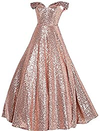 Sequin Prom Dresses Off The Shoulder Crystal Beaded Swing Ball Gown Long P104