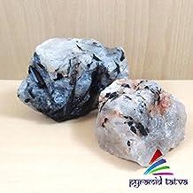 Navidad Venta. Rutilated cuarzo Raw Natural Gemstone weight-100gm Chakra Curación Piedra Juego de pirámide de lapislázuli...