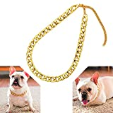 Tuokay 18K Collar de Cadena de Oro para Perro, Collares de Gato de Acero Inoxidable, Bisutería de Collar Ajustable, Collar de Cadena de Moda para Mascotas