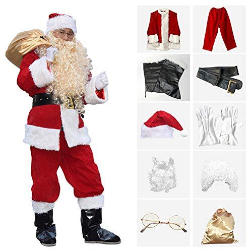shuhong 10 Stück Kostüm Verdicken Mens Santa Claus, Deluxe Velour Santa Anzug, Santa Claus Kostüm Erwachsene Herren Weihnachtskostüme, Weihnachten, Warmhalten, S-L,M