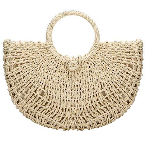 Handgefertigte Designer-handtaschen (Damen Handtasche aus Stroh, für Sommer, Strand, klassisch, mit Tragegriff Gr. One size, gebrochenes weiß)