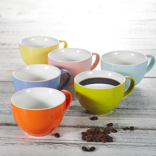 Panbado, 6er Set Porzellan Tassen, 375 ml Kaffeetasse, Becherset, Kaffeebecher, Frühstück Mug,...