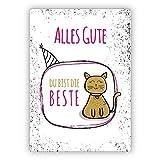 Motivierende Glückwunschkarte/Geburtstagskarte mit Katze, rosa: Alles Gute, Du bist die Beste