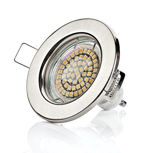 Sweet Lampe LED Lot de 10 LED encastrable Spot à encastrer 60 SMD 3 W Spot GU10 230 V en kit/Cadre de montage einbauled Chrom Geb.-warmweiß