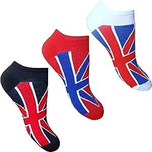 Boys & Girls Unisex Union Jack Flag Great Britain Trainer Socks (3 Pair Multi Pack)