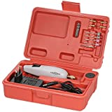 KKmoon AC DC Adapter Mini Elektrische Schleifer Set mit 15 Zubehör, Tragbar Handheld Bohrmaschine Werkzeugsatz mit Kasten für DIY Gravieren Schleifen Grau