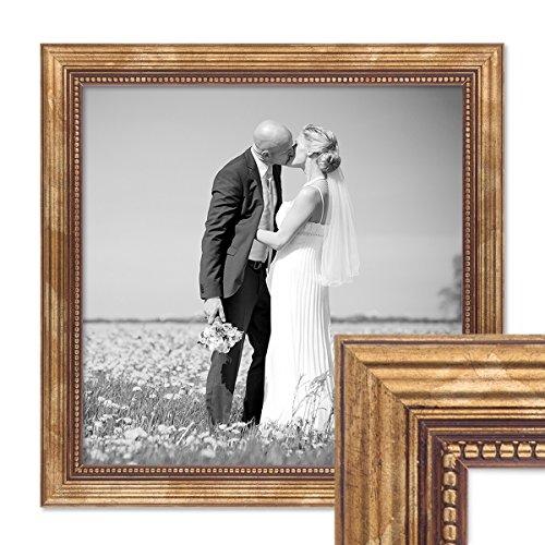 PHOTOLINI Bilderrahmen 30x30 cm Gold Barock Antik Massivholz mit Glasscheibe und Zubehör/Fotorahmen...