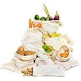 BESTE WIEDERVERWENDBARE PRODUKTTASCHEN, Set von 6 Muslin Produce Bags wiederverwendbar (2 Stück von Large, Med. & Sm.)