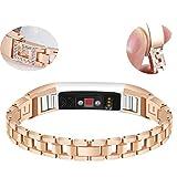 Altsommer Edelstahl Armband für Fitbit Alta HR/Fitbit Alta-Uhr Armband Edelstahl-Ketten-Art-Armband-intelligente Elegantes mit Schnellverschluss Armband für Damen Herren (Gold)