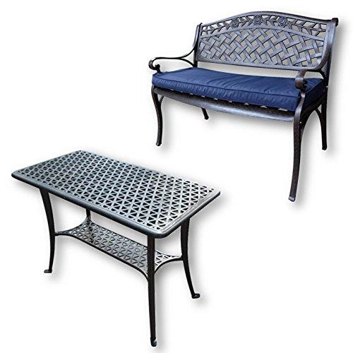 Lazy Susan - BBQ Grillparty Beistelltisch mit 1 Rose Gartenbank - Gartenmöbel Set aus Metall, Antik Bronze (Blaues Kissen)