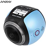 Blue Color: Andoer V1 360 Panorama Camera Wifi 2448P 16MP Fisheye VR Camera Film Sport Camera Action Camera Camcorder