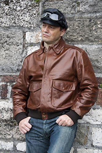Noble House A-2 Russet Pilotenjacke Herren Lederjacke Rinderleder US Army Air Force braun - 4
