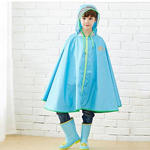 FEIFEI Mode Kinder Regenmantel EVA Material Erfrischender Umweltschutz Outdoor Girls Tragbare Winddicht Regensicher Sonnenschutz Reise Gelb Blau Rosa Geeignet Alter: 6-12 Jahre Alt ( Farbe : Blau , größe : S )