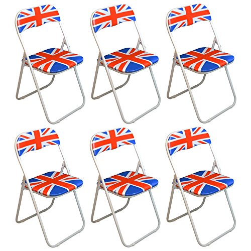 Silla plegable de escritoria acolchado, bandera británica - 6 sillas