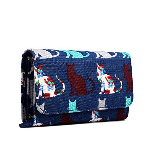 miss-lulu-canvas-cat-dog-clutch-wallet-organiser-purse-cat-navy