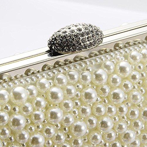 Taschen crystal kleine Frauen Tasche cross body Clutches Abend und Geldbörsen perlen Diamant abend Taschen für Party Hochzeit, Perlweiß Perlweiß