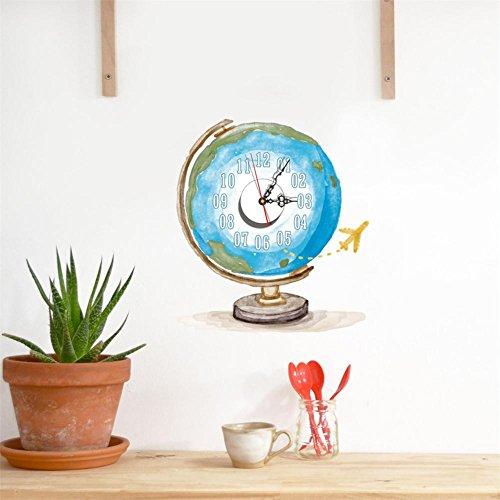 Moderne 3D Wandaufkleber Uhr, Wohnzimmer, Restaurant, Globus Mute Umweltschutz Wanduhr 14,9 * 16,7 in (Batterie nicht im Lieferumfang enthalten) (Metall-globus, Kunst)