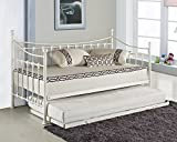 VERSAILLES GLOSSY VANILLA DAYBED WITH UNDERBED TRUNDLE 3FT SINGLE DAY BED FRAME