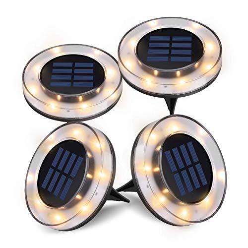 Solarleuchten Garten, 4 Stück LED Solarleuchten Bodenleuchte 8 LED Solar Leucht außen Solarleuchte Wasserdichte Solar Bodenstrahler Edelstahl Garten Landschaftslichter, Warmweißes Licht