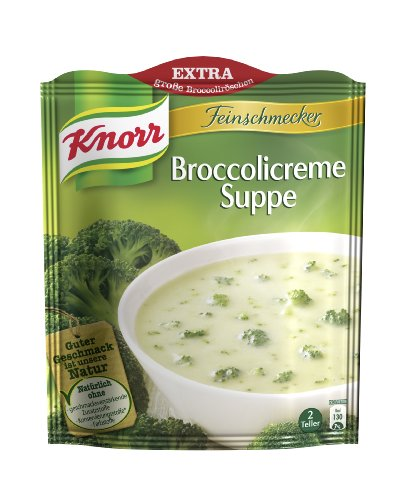 Knorr Feinschmecker Broccolicreme Suppe, 8 x 2 Teller (8 x 500 ml)