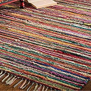 Indian arts tappeto fair trade hand loom 100% riciclato materiali, tessuto, multi, 150 x 210cm