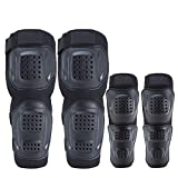 #5: AllExtreme Pro Motorcycle Riding Knee Pads Protector Flexible Breathable Adjustable Elbow Support Guard for Motorcycle Motocross Racing Mountain Bike (Set of 4, Black)