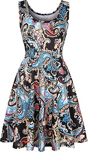 Damen ärmelloses Kleid Casual Print Scoop Neck Sommerkleid A Line Midi Kleider Print S Linie Scoop Neck