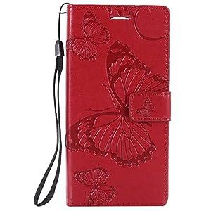 DENDICO Sony Xperia XA2 Hülle, PU Leder Handyhülle mit Standfunktion und Kartenfach, Schmetterling Muster Magnetverschluss Flip Brieftasche Etui TPU Schutzhülle für Sony Xperia XA2 – Rouge
