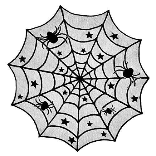 Halloween House Haunted (Halloween Tischdecke, Lommer Lace Stoff Runde Tischdecke Bar Themed Abende Haunted House Halloween Dekoration - Schwarz +)