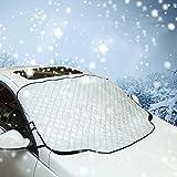 Windschutzscheibenabdeckung groß, eJiasu Windschutzscheibenabdeckung Magnetisch Schneedecke Auto Frontscheibenabdeckung Auto Windschutzscheibenabdeckung innen für Autos Vans Trucks und SUVs (weiß)