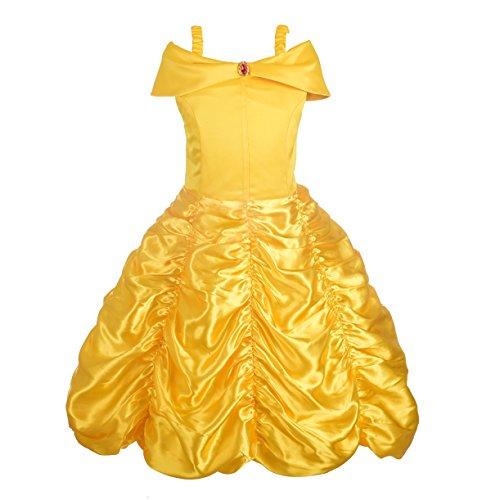 Lito Angels Mädchen Prinzessin Belle Kostüme Prinzessin Verkleiden Sich Halloween Party Kleid Gr. 4-5 Jahre